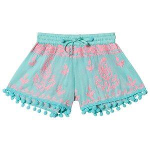 Melissa Odabash Aqua Embroidered Pom Pom Shorts 4 years