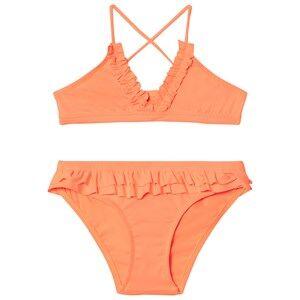 Image of Melissa Odabash Fluro Orange Frill Detail New York Triangle Bikini 6 years