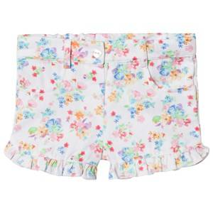 Image of Dr Kid White Floral Frill Shorts 6 months