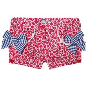 Image of Dr Kid Floral Shorts with Gingham Bow Detail Red 6 months