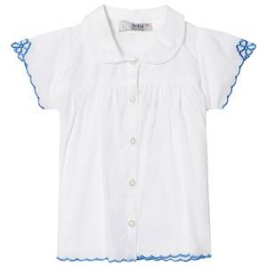 Image of Dr Kid Infants Shirt with Blue Embroidered Detail White 6 months