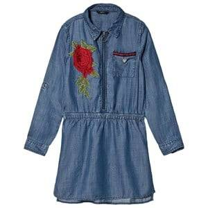 Guess Blue Rose Embroidered Denim Dress 7 years