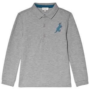 Image of Paul Smith Junior Grey Marl Dinosaur Embroidered Mini Me Long Sleeve Pique Polo 16 years