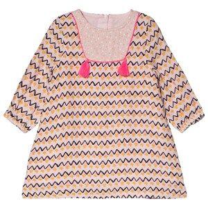 Image of Billieblush Pink Zig Zag Tassel Detail Dress 9 months