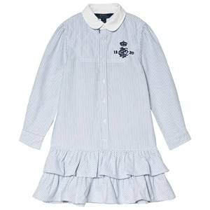 Image of Ralph Lauren Blue and White Oxford Shirt Dress with Frill Skirt 5 years