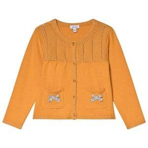 Image of Absorba Mustard Lurex Knit Cardigan with Bow Detail 6 months