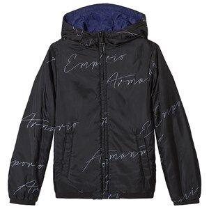 Giorgio Armani Emporio Armani Black Reversible into Electric Blue Logo Hooded Jacket 4 years