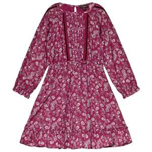 Velveteen Embroidered Dress Berry Print 10 years