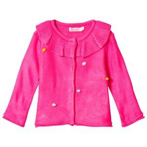 Image of Billieblush Pink Frill Collar Pom Pom Detail Cardigan 9 months