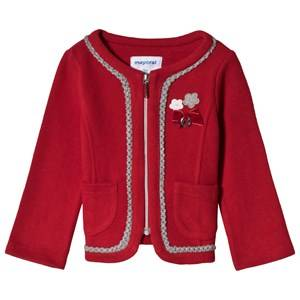 Image of Mayoral Red Zip Through Knit Jacket with Applique Detail 36 months