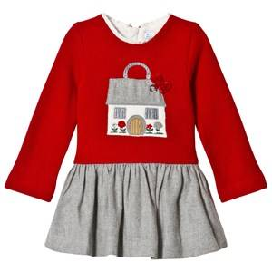 Image of Mayoral Red Knit Embroidered House Dress 9 months