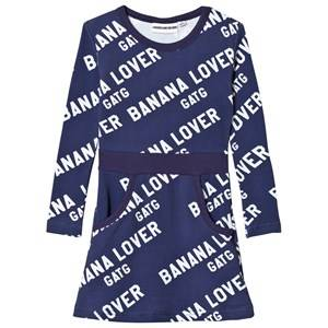 Image of Gardner and the gang Pretty Dress Banana Lover Print Blue 2-3 Years