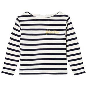 Image of Maison Labiche White and Navy Striped Future Hero Embroidered Long Sleeve Tee 12 years