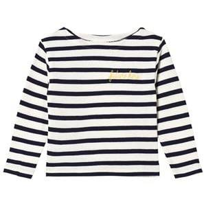Image of Maison Labiche White and Navy Striped Future Hero Embroidered Long Sleeve Tee 2 years