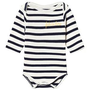 Image of Maison Labiche White and Navy Striped Future Hero Embroidered Long Sleeve Baby Body 3-6 months