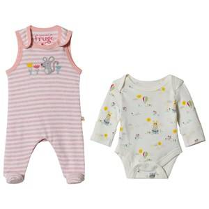 Frugi My First Outfit in Pink Marl Striped Mouse Premature
