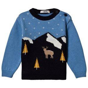 Image of Dr Kid Blue & Navy Deer Scene Knitted Jumper 6 months