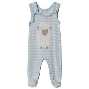 Dr Kid Blue Knitted Stripe & Sheep Footed Baby Body 3 months
