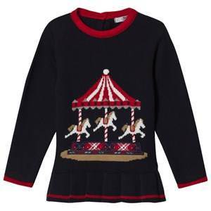 Image of Dr Kid Navy Knitted Merry Go Round Top 6 months