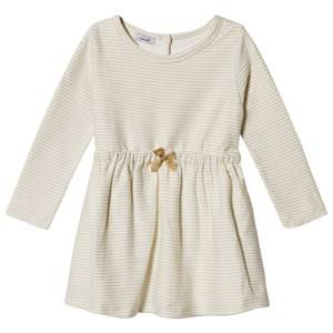 Image of Absorba Cream Lurex Stripe Dress with Glitter Bow 9 months