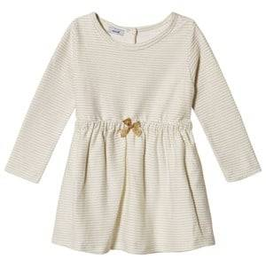 Image of Absorba Cream Lurex Stripe Dress with Glitter Bow 6 months