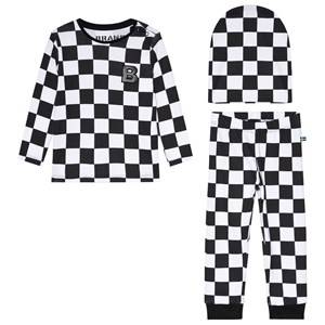 The BRAND 3-Piece Baby Set Black Squares 68/74 cm