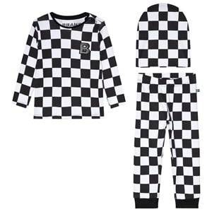 The BRAND 3-Piece Baby Set Black Squares 56/62 cm