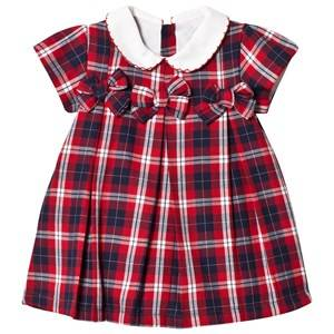 Image of Dr Kid Red Tartan Bow & Embroidered Collar Dress 9 months