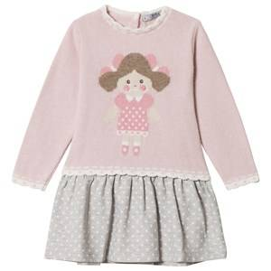 Image of Dr Kid Pink Doll Face Sweater Dress 6 months