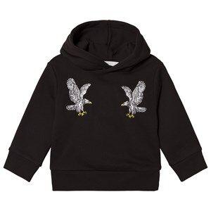 Stella McCartney Kids Black Hoodie with Embroidered Birds 5 years