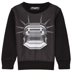 Neil Barrett Black State of Liberty Head Sweatshirt 10 years