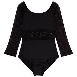 Mirella Black Embroidered Mesh Waist 3/4 Sleeve Leotard 14 years