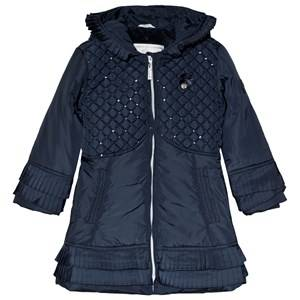 Le Chic Navy Sequin Quilted Coat 164 (13-14 years)