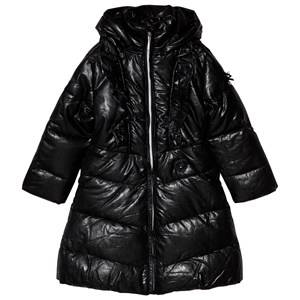 Le Chic Black Big Ruffle Long Coat 104 (3-4 years)