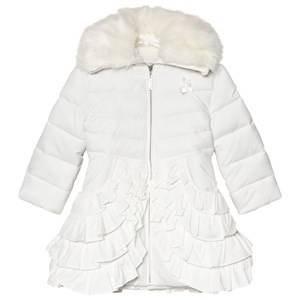 Le Chic Off White Padded Coat with Ruffled Bottom and Faux Fur Collar 164 (13-14 years)