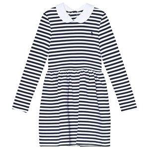 Image of Ralph Lauren Navy and White Stripe Long Sleeve Ponte Dress 5 years