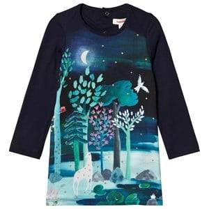 Image of Catimini Navy Unicorn in the Forest Print Jersey Dress 3 years
