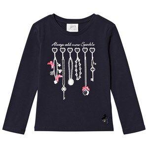 Le Chic Navy Jewellery Rack Print Long Sleeve Tee 110 (4-5 years)