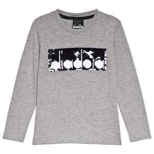 Image of Diadora Grey Two-Tone Sequin Branded Long Sleeve T-Shirt XS (6 years)