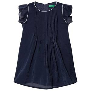 Image of United Colors of Benetton Navy Pleated Dress 4/5Y (XS 110cm)