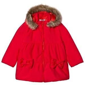 Image of Dr Kid Red Faux Fur Hooded Puffer Coat 6 months