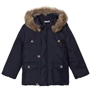 Image of Dr Kid Navy Faux Fur Hooded Coat 6 years