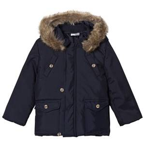 Image of Dr Kid Navy Faux Fur Hooded Coat 6 months