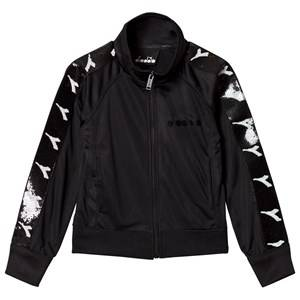 Image of Diadora Black & Monochrome Sequin Branded Track Jacket XS (6 years)