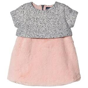 Image of Andy & Evan Grey Mini Shiny Brocade Dress with Pink Fur Skirt 6-9 months