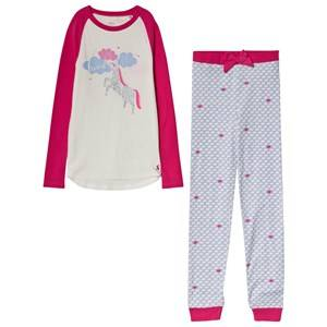 Tom Joule Pink/Lilac/Cream Head In The Clouds Glitter Unicorn Pajamas 1 year