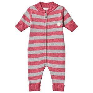 Lillelam Baby Onesie Stripes Cerise 74 cm (6-9 Months)