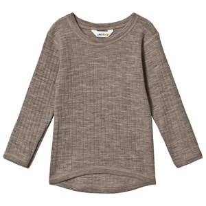 Joha Merino Wool Long Sleeve Tee Basic Sesame Melange 130 cm (7-8 Years)