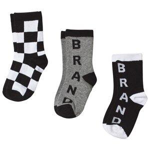 The BRAND 3-Pack Socks Black, White and Grey 31-33 (6-8 Years)