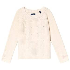 GANT Cream Cable Knit Cropped Sweater 122-128cm (7-8 years)